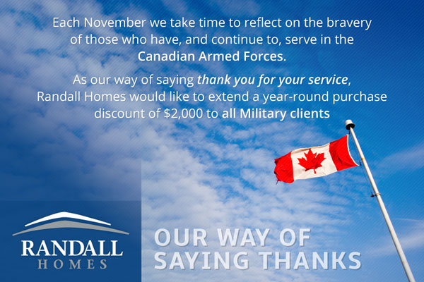 Military Personnel Discount - Randall Homes - Custom Homes - Winnipeg - Manitoba